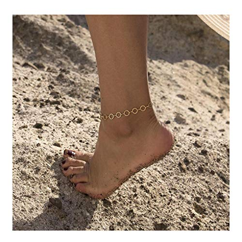 Circle Round Link Bracelet - Mevecco Anklets for Women,14K Gold Filled Boho Cute Dainty Open Circle Round Tiny Charm Handmade Ankle Bracelet Delicate Beach Link Chain Anklet for Women