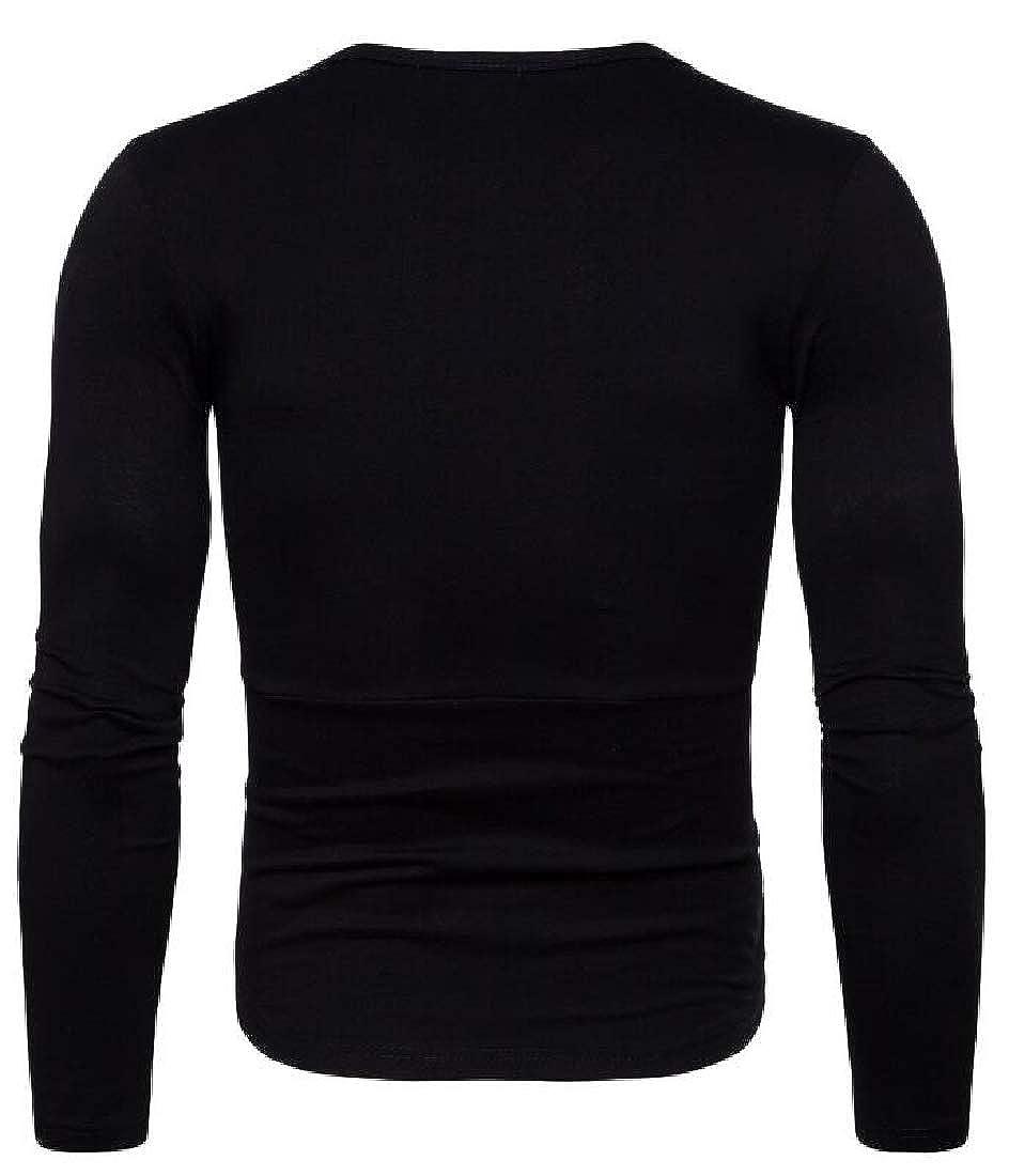 BU2H Men Contrast Active Round Neck Long Sleeve Zip Trim Top T-Shirt Blouse