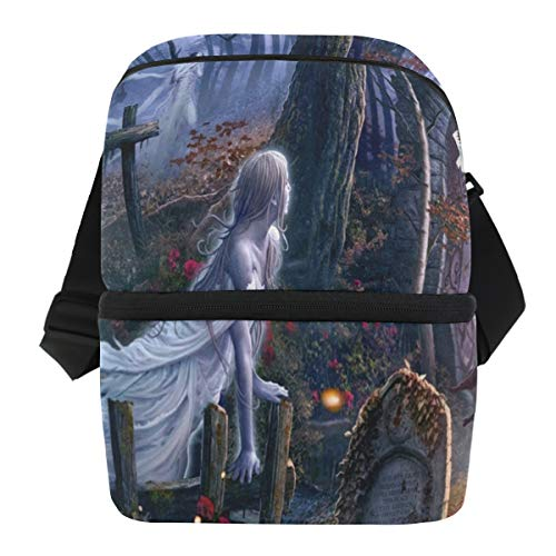 Lovexue Lunch Bag Halloween Witch Insulated Cooler Bag Womens Leakproof Lunch Box Zipper Tote Bags for Golf]()