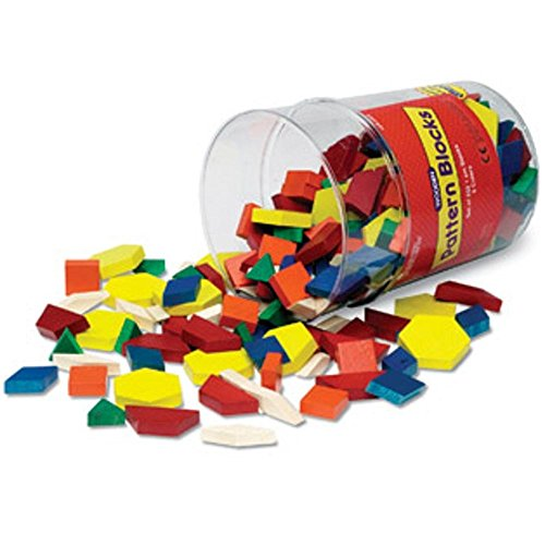 Learning Resources Wooden Pattern Blocks, Set of - Colored Classic Pattern