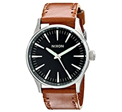 Amazon.com: Nixon Mens A3771887 Sentry 38 Stainless Steel Watch With Leather Band: Nixon: Watches