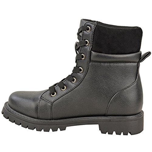 Style Army Size Military Womens Fashion Faux Ankle Worker Up Lace Shoes Black Thirsty Leather Combat Boots zwpa1xvp
