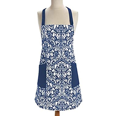 DII 100% Cotton, Printed Damask Chef Apron With Adjustable Neck Strap & Waist Ties, Fashion Chef Kitchen Apron Is Machine Washable with Front Pockets, Perfect for Cooking, Baking, Barbequing, & More - Nautical Blue