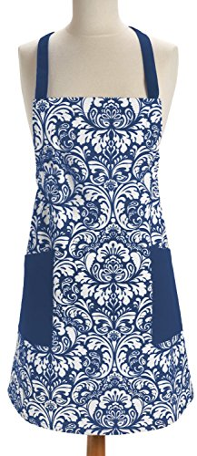 Tie Apron (DII 100% Cotton, Fashion Printed Damask Women Kitchen Apron, Adjustable Neck Strap & Waist Ties, Front Pockets, Machine Washable, Perfect for Cooking, Baking, BBQ-Nautical)