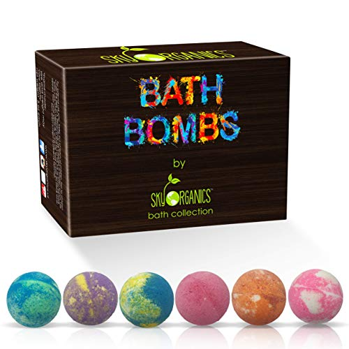 Bath Bombs Gift Set 6 x 5 Oz Ultra Lush Huge Bath Bombs Kit Best for Aromatherapy Relaxation Moisturizing with Natural Essential Oils Handmade Natural Spa Fizzies