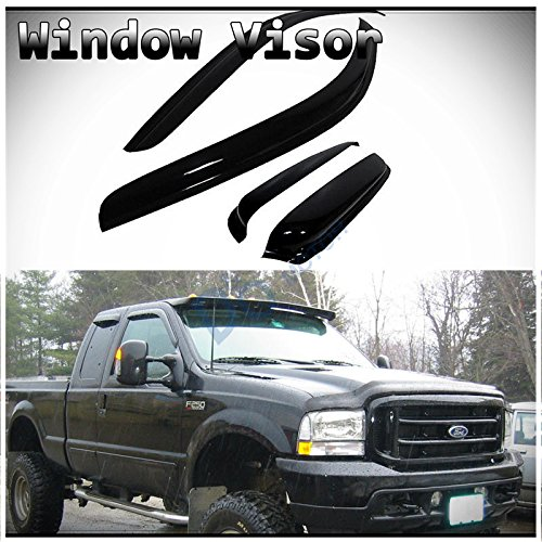 D&O MOTOR 4pcs Front+Rear Smoke Sun/Rain Guard Wind Deflector Outside Mount Tape-On Window Visors for 99-16 Ford F250/F350/F450 Super Duty Super/Extended Cab with Half Size Back -