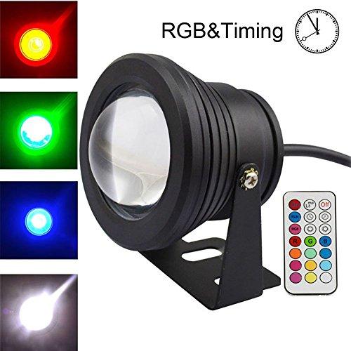 COOLWEST RGB LED Unterwasserscheinwerfer Dekorative Garten Schwimmbad Teich Licht/Nacht Schalt,230V / 10W,mit Wireless IR Fernbedienung
