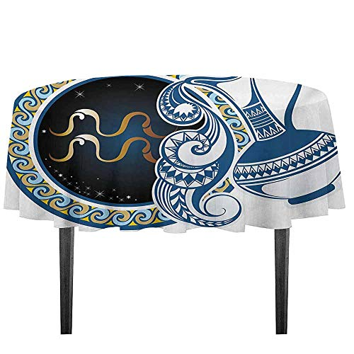 Imperial Blue Small Jug - kangkaishi Zodiac Leakproof Polyester Tablecloth Image of Aquarius Sign with Jug and Circular Globe World Form on The Background Outdoor and Indoor use D51.18 Inch Blue and Gold