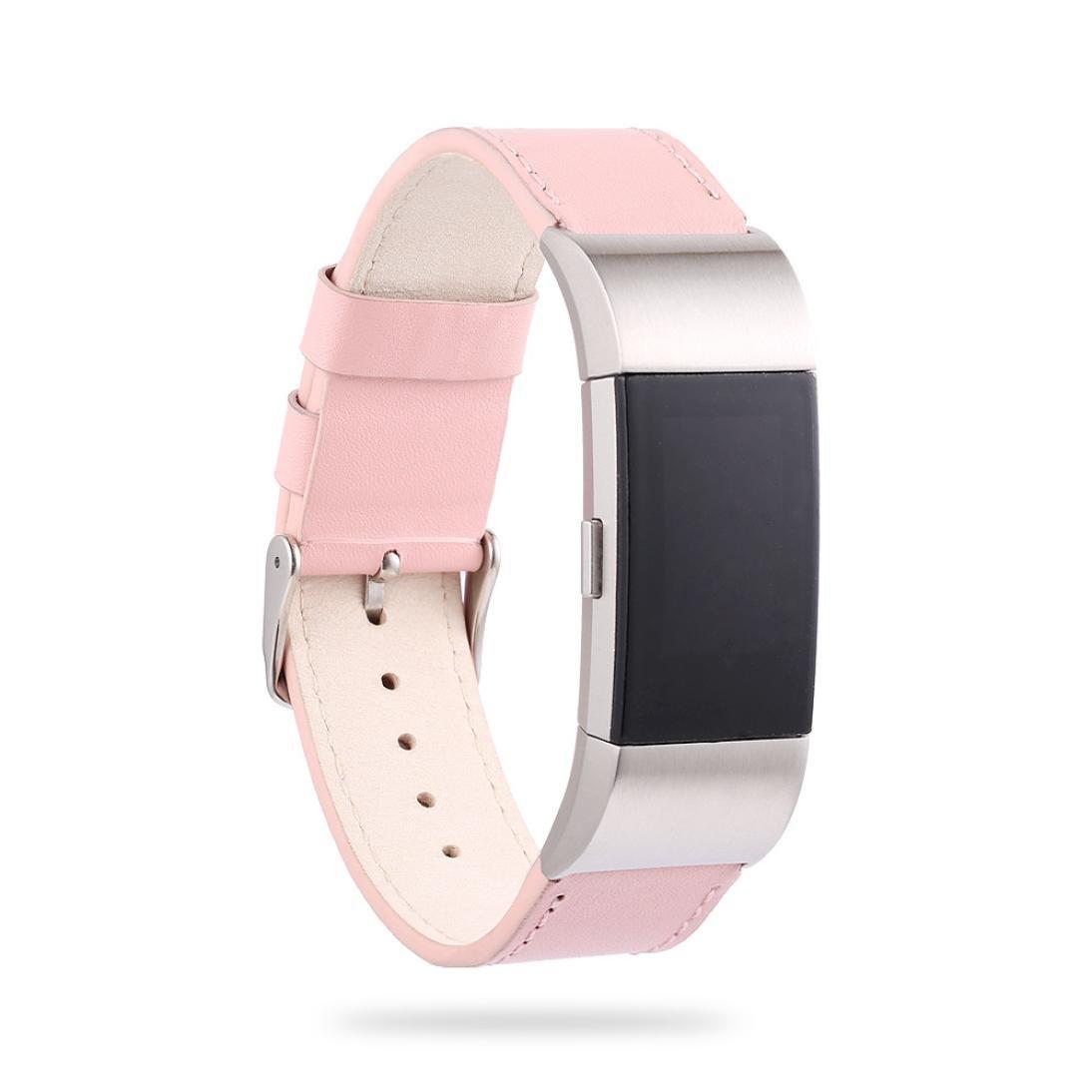inverlee新しいラグジュアリーレザーバンドブレスレットウォッチバンドfor Fitbit Charge 2 Smart Watch  ピンク B076CDPMDL