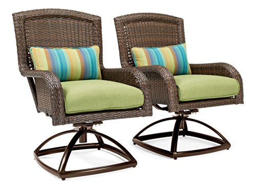 La-Z-Boy Outdoor Sawyer Patio Furniture Swivel Rocker Outdoor Chair Set of 2 (Cilantro Green)