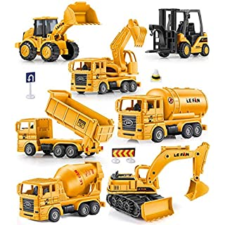 Geyiie Small Construction Trucks for Kids, Construction Vehicles Toys Engineering Toys Playset for Boys, Excavator Digger Tractor Bulldozer Dump Cement Toys Gifts for Holiday Party Favor Christmas