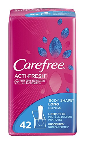 Carefree Acti-Fresh Body Shape Pantiliners Long To Go Unscented - 42 Liners, Pack of 3