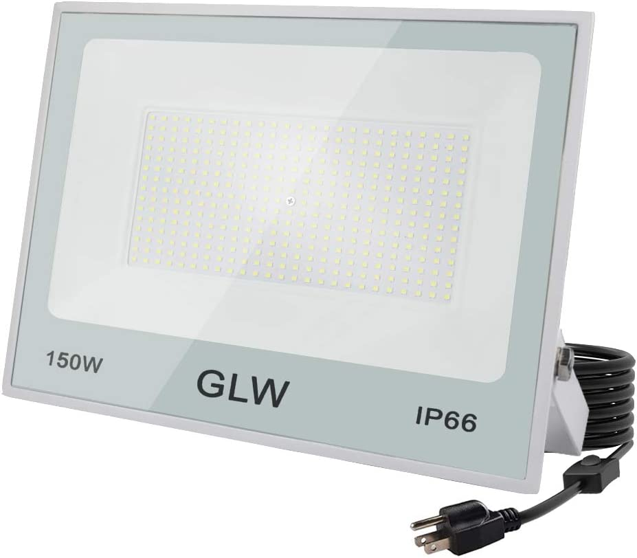 GLW LED 150W Flood Light IP66 Waterproof Super Bright Work Lights,13,000lm 6500K Daylight White Outdoor Spotlight for Garage,Playgrounds,Parking Lot,Basketball Court