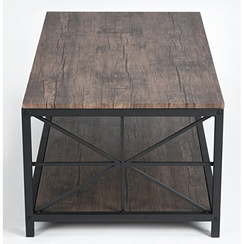 Superbe Amazon.com: Vintage Dark Brown Black Metal Frame Cocktail Coffee Table With  Lower Shelf: Kitchen U0026 Dining