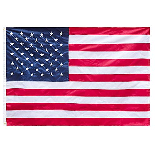 Jetlifee - American USA US Flag 8x12 Ft by U.S. Veterans Owned Biz. Heavyweight Nylon Embroidered Stars Sewn Stripes and Brass Grommets US ()