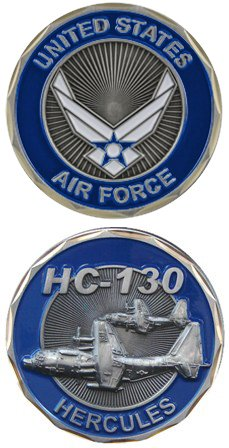 United States US Air Force Wings Crest Military HC-130 Hercules Plane - Good Luck Double Sided Collectible Challenge Coin by Eagle Crest