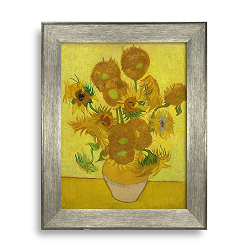 Sunflower by Van Gogh Framed Art Print Famous Painting Wall Decor Silver Frame
