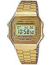 ساعة كاسيو رقمية مضيئة باللون الذهبي وسوار من الستانلس ستيل للجنسين [A168WG-9WDF]