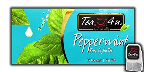 Peppermint Black Tea | Peppermint Flavoured Tea - 25 Tea Bags | Ceylon Tea | Natural & Pure & Unique Quality, From Sri Lanka | Tea by Anverally