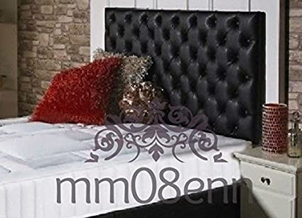 mm08enn Quality Colchester Faux Leather Headboard Choice of Fabric Buttons or Crystal Diamante 3ft Diamante, Black