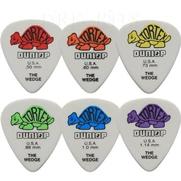 12 x Púas para guitarra presentadas Dunlop Tortex cojín con forma de cuña/púas - 2 de cada tamaño en estuche de metal