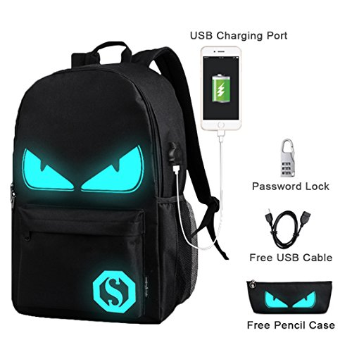 School Music - Luminous Backpack Music Boy Bag with USB Charging Port Anti-theft School Rucksack for Kids Teenagers (Devil)