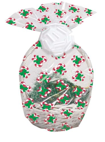 Creative Converting Cello Basket Bags, Candy Cane, 2-Count