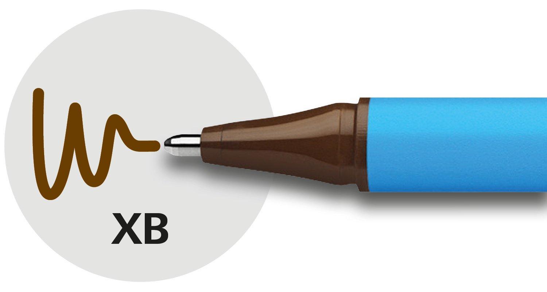 Dreikant-Stift mit Strichbreite XB=Extrabreit, Kappenmodell Schneider Slider Edge XB Kugelschreiber 10er Packung cyan-rot