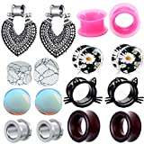 TIANCI FBYJS 8 Pairs Hot Woman Ear Gauges Dangle Tunnels Earrings Plugs Silicone Opal Stone Turquoise Wooden Gauges (6mm=2g)