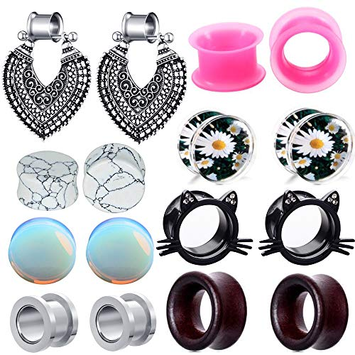 TIANCI FBYJS 8 Pairs Hot Woman Ear Gauges Dangle Tunnels Earrings Plugs Silicone Opal Stone Turquoise Wooden Gauges (12mm=1/2'') ()