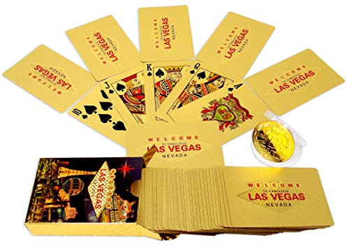 Las Vegas Place Cards - Big Texas Mall 24k Gold Las Vegas Poker Playing Cards w/Gold Plated Collectible Pseudo Cryptocurrency Bitcoin Coin Place Setting Cards Real Gold Professional Quality Gold Foil Plated Prestige Set