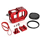 Gopro Hero 6/5-Metal Housing Case with 52mm UV Filter, HSU Aluminum Alloy Shell Frame (Red)