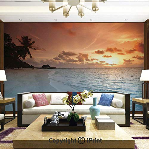 - Lionpapa_mural Removable Wall Mural | Self-Adhesive Large Wallpaper,Image of an Exotic Beach with Golden Color Sand and Wave in The Sea Palms on Sunset Summer Land,Home Decor - 100x144 inches