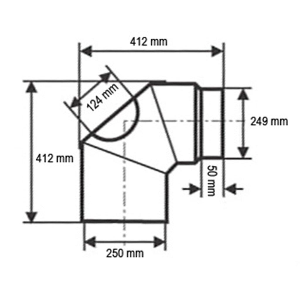 /Ø 250 mm Bogen 90/° mit T/ür Schwarz