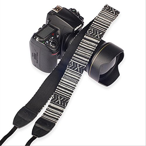 (Haihuic Vintage Print Soft Colorful Camera Neck Shoulder Belt Strap for All DSLR Camera)