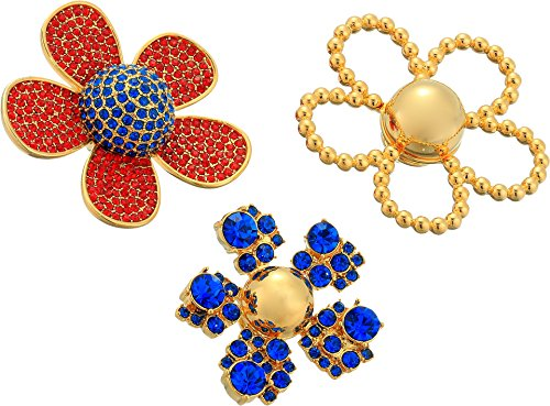 Marc Jacobs Women's Daisy Pave Brooch Set, Red Multi, One Size