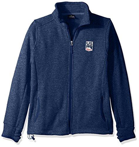 US Ski-Snowboard Licensed Apparel U.S. Ski Team Logo Fleece Jacket, Blue Heather, Medium