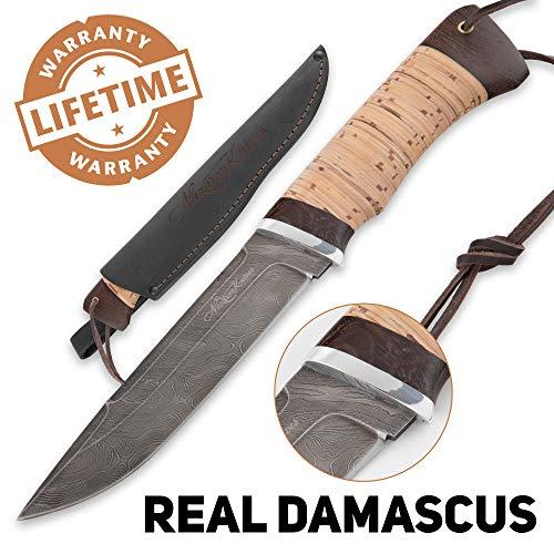 (Damascus Knife - Skinning Knives for Hunting - Real Damascus - Birchbark - VEPR - Leather)