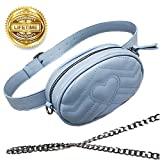 Women Waist Bag Fashion Belt Pack Round Fanny Pack Stylish PU Waist Pouch Adjustable Belt Chain Shoulder Bag (Blue)
