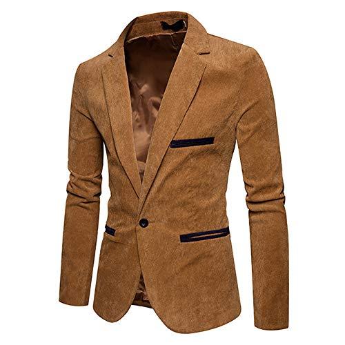 [해외]남성용 캐주얼 코 듀로이 코트가을 겨울 슬림 핏 수트 재킷 블 레이저 한 버튼 / Toimothcn Men`s Casual Corduroy Coat Autumn Winter Slim Fit Suit Jacket Blazer One Button