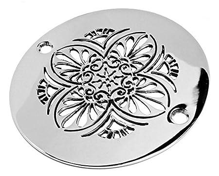 Designer Drains Brushed Nickel Elements Greek Anthemion Round Decorative  Shower Drain Cover Grate