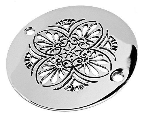 80%OFF Designer Drains Brushed Nickel Elements Greek Anthemion Round Decorative Shower Drain Cover Grate