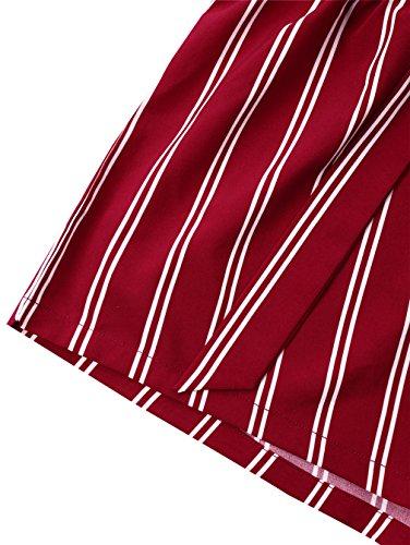 larga alta Pantaloncini gamba a Pantaloncini estivi Pantaloncini Red Linyin righe donna a Pantaloni Wine pa8CIxnq1w