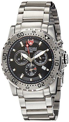 Swiss Eagle SE-9008-11 Mens Dive Fleet Black Silver Chronograph Watch