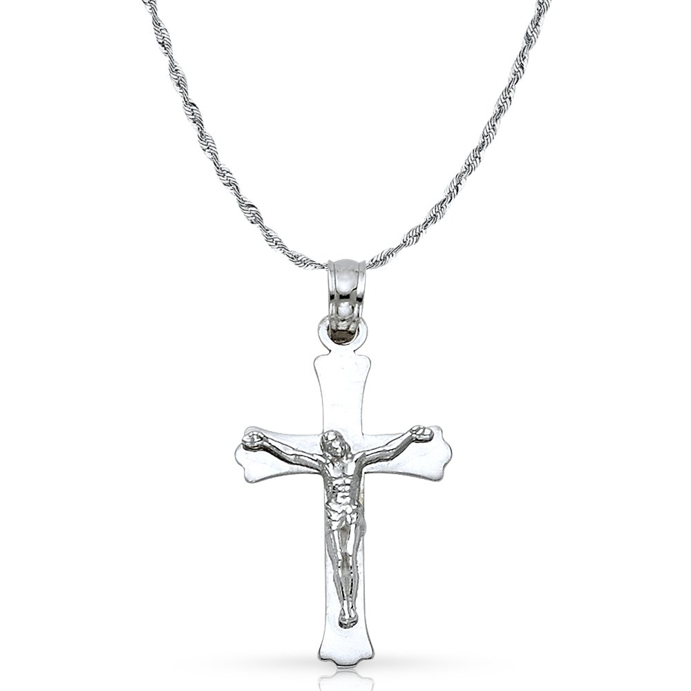 14K White Gold Jesus Crucifix Cross Pendant with 1.5mm Rope Chain Chain Necklace