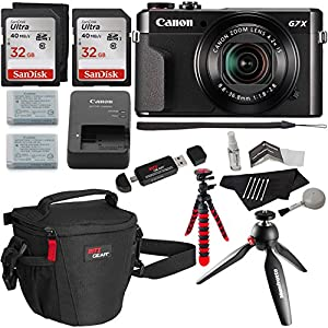 "Canon PowerShot G7 X Mark II Video Creator Kit, SanDisk 32GB Memory Card 2 Pack, 12"" Flexible Tripod, Camera Bag, Cleaning Kit and Accessory Bundle"