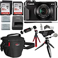 Canon PowerShot G7 X Mark II Video Creator Kit, SanDisk 32GB Memory Card 2 Pack, 12 Flexible Tripod, Camera Bag, Cleaning Kit and Accessory Bundle