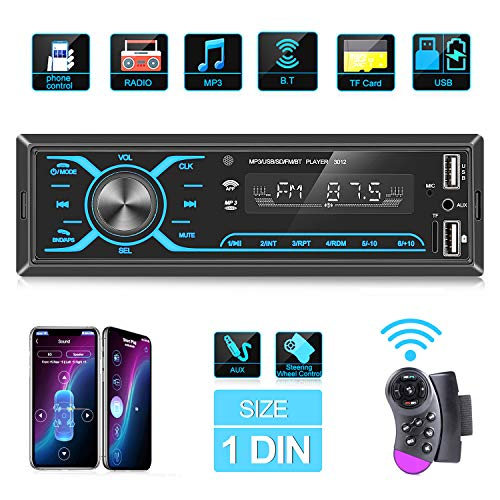 ANKEWAY 1 DIN Touch Car Stereo Bluetooth with Super App Control and Steering Wheel Remote, Car Radio with Bluetooth…