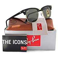 Ray-Ban RB3016 Clubmaster Sunglasses Arista Gold w/Crystal Green (W0365) 3016 W0365 51mm Authentic
