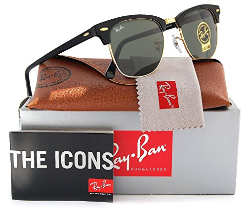 Ray-Ban RB3016 Clubmaster Sunglasses Arista Gold w/Crystal Green (W0365) 3016 W0365 51mm - Ban Ray Sunglasses 3016